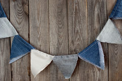 Festive decor denim flags with space for text. Stock Image