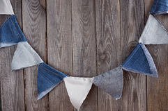 Festive decor denim flags with space for text. Stock Images