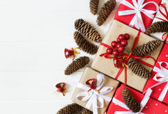 Festive decorated Christmas and New Year gifts.  Christmas white. Background Stock Photo