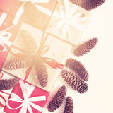 Festive decorated Christmas and New Year gifts. Vintage toning.  Stock Photo