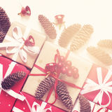 Festive decorated Christmas and New Year gifts. Vintage toning,. Copy space Royalty Free Stock Photo