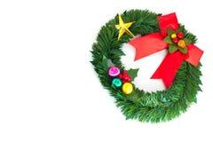 Festive decorated christmas pine tree. Isolated on white background Stock Image