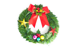 Festive decorated christmas pine tree. Isolated on white background Royalty Free Stock Photos