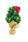 Festive decorated christmas pine tree. Isolated on white background Stock Photos