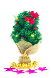 Festive decorated christmas pine tree. Isolated on white background Royalty Free Stock Photography