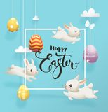 Festive decorated eggs hanging on strings against blue sky on background, funny little bunnies, square frame and Happy. Easter hand lettering. Vector Royalty Free Stock Photos