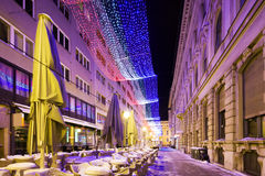 Festive decorated street in Zagreb. Croatia. Stock Photography