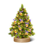 Festive Decoration Christmas Tree Pine on Wooden Stand  Stock Photography