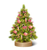 Festive Decoration Christmas Tree Pine On Wooden Stand  Stock Photo
