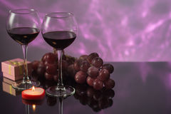 Festive decoration with glasses of wine and a nice background Stock Image