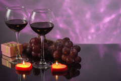 Festive decoration with glasses of wine and a nice background Royalty Free Stock Photography