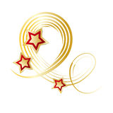 Festive decoration isolated. Abstract gold ribbon and red stars - Christmas element against white background Stock Photo