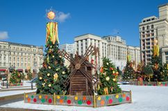 Festive decoration on the Maslenitsa at Manezhnaya square in Moscow, Russia. Moscow, Russia - March 2, 2019: Festival `The Moscow Maslenitsa 2019`. Festive stock photos