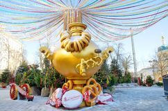 Festive decoration of Moscow on Maslenitsa, Russia stock images