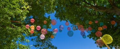 Festive decoration with multicolor transparent balls Royalty Free Stock Images