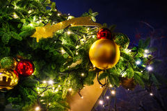 Festive decoration of night city on Christmas eve Stock Photos