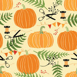 Festive decoration, pumpkins and ferns. Hand drawing Royalty Free Stock Images