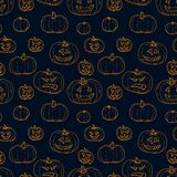Festive decoration, pumpkins. Seamless pattern vector illustration Royalty Free Stock Photos