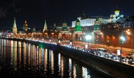 View of the Moscow Kremlin at night. Moscow, Russia stock images