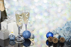 Festive decoration with two glasses of champagne. And a blurred background Royalty Free Stock Photography