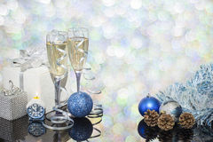 Festive decoration with two glasses of champagne. And a blurred background Stock Photo