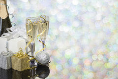 Festive decoration with two glasses of champagne. And a blurred background Royalty Free Stock Photo