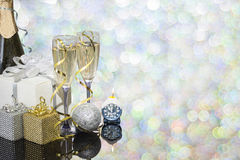 Festive decoration with two glasses of champagne. And a blurred background Royalty Free Stock Photos