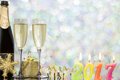 Festive decoration with two glasses of champagne. And a blurred background Stock Images