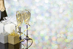 Festive decoration with two glasses of champagne. And a blurred background Stock Photos