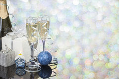 Festive decoration with two glasses of champagne. And a blurred background Stock Photography