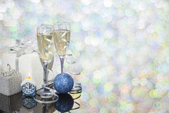 Festive decoration with two glasses of champagne. And a blurred background Royalty Free Stock Image