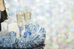 Festive decoration with two glasses of champagne. And a blurred background Stock Image