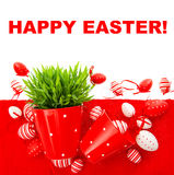 Festive decoration with white red easter eggs Stock Photo
