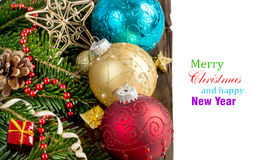 Festive decorations with baubles Royalty Free Stock Photos