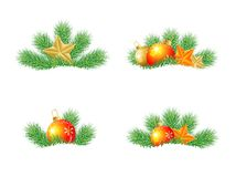 Festive decorations with the branches of fir-tree on to snow Royalty Free Stock Image