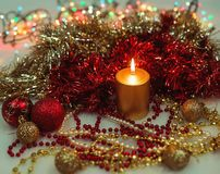 Festive decorations with candle. Royalty Free Stock Images