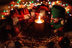 Festive decorations with candle. Royalty Free Stock Photo