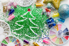 Festive decorations and colorful glitter Royalty Free Stock Photography