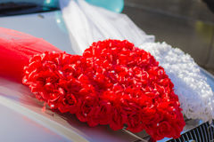 Festive decorations. On the hood of the car placed holiday, wedding decor Stock Images