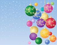 Festive decorations. An illustration of colorful festive decorations with gold trim and sparkles on a snowy background Stock Photos