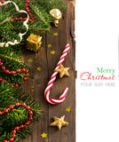 Festive decorations with  stars and candy cane Stock Photos
