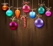 Festive Decorative Christmas Template. With hanging colorful balls on wooden background vector illustration Royalty Free Stock Photos