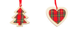 Festive decorative heart and Christmas tree. Stock Photos