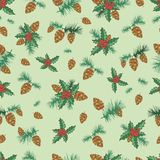 Festive decorative seamless background, lump, pine branch, holly. On a green background, realistic sketch style, vector drawing hand of a forest card.r Royalty Free Stock Photo