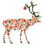 Festive deer,multicolor  New Year. Multicolor festive deer without background ,Christmas attributes, festive ball decorates horns, Reindeer, New Year Royalty Free Stock Photos