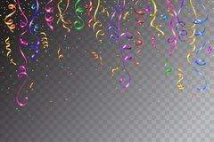 Festive design. Border of colorful bright confetti. On transparent background. Party decoration frame for birthday, anniversary, celebration. Vector Stock Photography