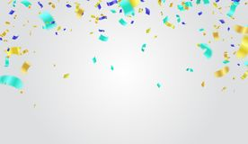 Festive design. Border of colorful bright confetti isolated on t. Ransparent background. Party decoration frame for birthday, anniversary, celebration. Vector Royalty Free Stock Photography