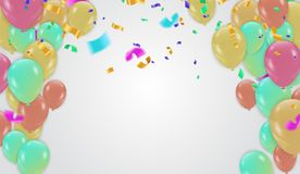 Festive design. Border of colorful bright confetti isolated on t. Ransparent background. Party decoration frame for birthday, anniversary, celebration. Vector Stock Image