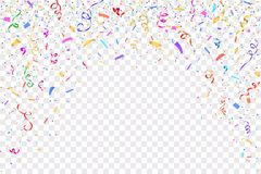 Festive design. Border of colorful bright confetti. Isolated on transparent background. Party decoration frame for birthday, anniversary, celebration. Vector Stock Photography