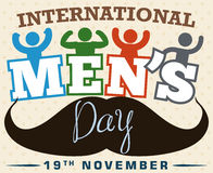 Festive Design with Boys and Mustache Celebrating International Men`s Day, Vector Illustration Stock Photo